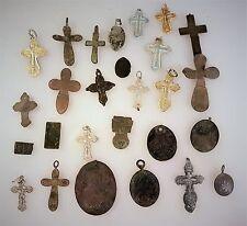 Russia ANTICO METALLO icona croci 17-20 acanto, bronzo argento 84 CIONDOLO 24 pezzi