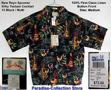 NEW REYN SPOONER THE BEST COLLECTIBLE COCKTAIL SHIRT SILKY TEXTURE 100% LINEN M
