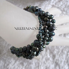 """8"""" 3-8mm Peacock 5Row Freshwater Pearl Bracelet Magnetic Clasp UE"""