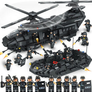 SWAT Helicopter Building Blocks  Compatible Police City Gifts Children's  Toys