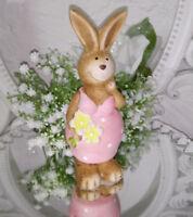 Osterhase Braun Rosa Ostern Hase 15cm Vintage Keramik Shabby Deko