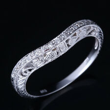 Vintage 10K White Gold Diamonds Engagement Wedding Band Women Anniversary Ring