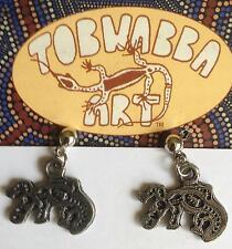 Ohrringe Anhänger Malerei /Prägung Australien Aborigines Schnabeltier Platypus
