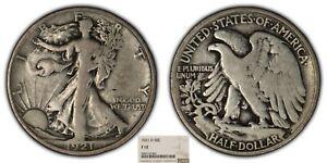 1921-D 50c Walking Liberty Half Dollar - Key Date - NGC F 12 - SKU-B1105