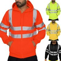 Mens Hi Viz High Visibility Bomber Sweatshirt Waterproof Rain Hooded Jacket Coat