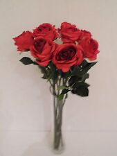 9 x FAUX SILK SINGLE STEM LARGE HEADED RED ROSES WITH LEAVES : 62CM