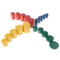 Wooden Montessori Material - Colorful Knobless Cylinders Toy Set for Kids