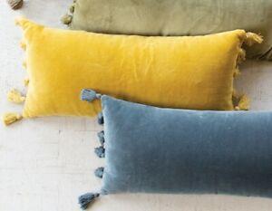 Honey Yellow Soft Velvet Lumbar Throw Pillow Long Tassel Fringe Sofa Cushion