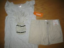NWT Gymboree Pineapple Sparkle Sz 6 Set Gray Sequin Pineapple Shirt Gold Shorts