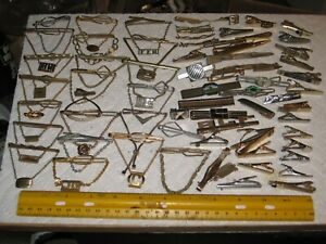 vintage junk drawer lot,men's jewelry,tie bars,clasps,clips,sterling,gold filled