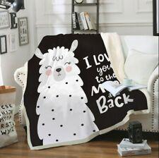Cartoon LLama Velvet Plush Kid's Throw Blanket Bedding Thick Quilt 52×60in