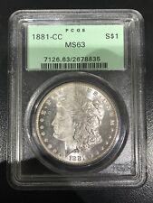 1881-CC $1 Morgan Silver Dollar PCGS MS63 SHIPS FREE