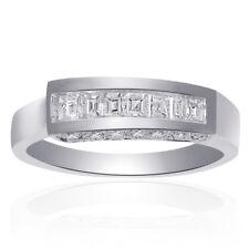 0.70 Carat Asscher & Round Cut Diamond Wedding Band in 14K White Gold
