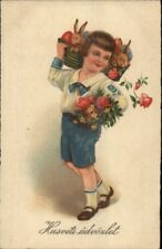 Hungarian Easter - Little Boy w/ Rabbits in Baskets c1930 Postcard