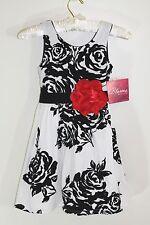 BLOOME Girls Sweet Heart Rose Christmas Rosette Party Wedding Velvet Dress Sz 7