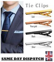 Silver Gold Metal Smart Luxury Tie Clip Holder Clasp 60mm Mens Bar Pin Plain UK