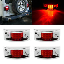 4x Sealed Chrome Armored LED Trailer Clearance Side Marker Tail Light 12LED Red