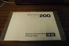 NUOVO MASSEY FERGUSON MF 200 hi-dump Rimorchio operatori manuale di istruzioni 9.0
