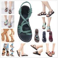 Summer Women Bandage Bohemian Flip Flops Sandals Beach Flat Shoes US Size 4-9