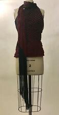 NWT 2007 Alexander McQueen Silk Polka Dot Fringed Scarf Halter Top Red Black 38