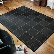Checked Flatweave Kitchen Rugs Runners Anti Slip Back GEL Black 160 X 225 Cm