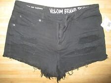 NEW* VOLCOM Cut Off Shorts Black Ripped $50 WOMENS 3 High Waisted