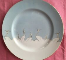 Victory Shofu Crane Bird Dinner Plate White Blue Sky Hand Painted China Chipped