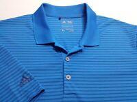 Adidas Climacool Mens XL Short Sleeve Blue Striped Athletic Polo Golf Shirt