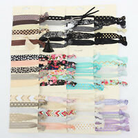 6pcs Women Rubber Knotted Scrunchie Ponytail Holder Hair Band Rope Ties Ring #w