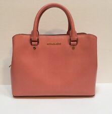New Michael Kors Savannah Medium Satchel Peach Saffiano Leather