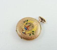 Damen Taschenuhr Gold 333 um 1900 emailliert Hufeisen Glücksbringer (D389)