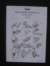 WEST HAM UNITED FC  -1996-97 - Original signatures of players on A4 sheet