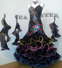 B3016 Ballroom Rainbow sequins Black Cocktail Waltz Tango Prom US6 Dance Dress