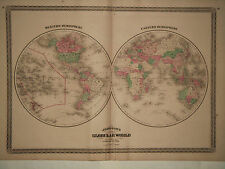 1870 Genuine Antique Hand Colored Map of Eastern & Western Hemispheres. Johnson