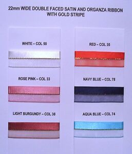 CHRISTMAS Satin Organza ribbon 22mm wide Centre Gold Stripe 2 metres