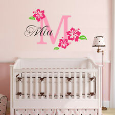 Wall Stickers custom name flower baby kids Removable Vinyl Decal Art Mural Decor