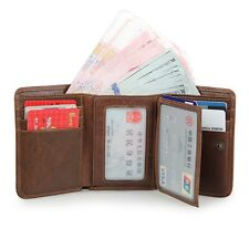 Augus Men's RFID Trifold Leather Wallet with Double ID Window Credit Card Slots