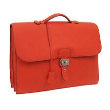 Auth HERMES Sac A Depeche 38 Briefcase Hand Bag Vermilion Togo JT07320