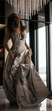 H&M Conscious Exclusive linen silk blend embroidered ballgown dress UK 8 EU 34