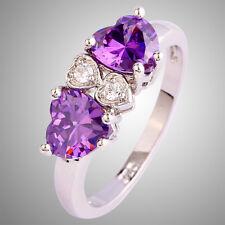 Love Style Heart Cut Amethyst & White Topaz Gemstone Silver Ring Size N P R T