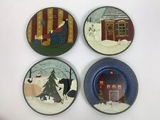 4 Warren Kimble for Cape Craftsmen Hand Painted Christmas Plates Santa Tree Cow