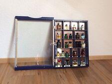 Holzregal Wandregal mit Spiegel und Glastür blau für Mini-Parfüms Deco-Stil