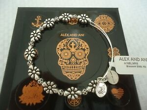 Alex and Ani BLOSSOM Russian Silver Charm Bangle New W/Tag Card & Box
