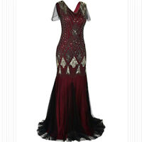 Deluxe Womens Gatsby Dress 1920s Flapper Long Sequin Retro Party Evening Costume