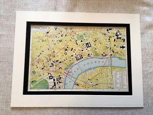 Antique Map Print London City Central River Thames Embankment  Vintage Art
