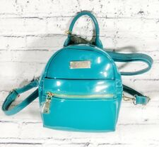 NEW Bebe Mini Backpack Los Angeles Teal Patent Leather Shoulder Bag NWT