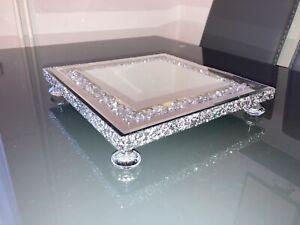 Crushed Diamond Edge Circle Mirror Candle Plate Display Tray Crystal Feet 25cm
