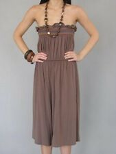NWT JENNY HAN BROWN EMBROIDERED STRAPLESS GAUCHO 70s STYLE JUMPSUIT S/M