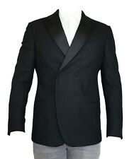 New Giorgio Armani Black Double Breasted Wool Tuxedo Peak Jacket - Size 50/40