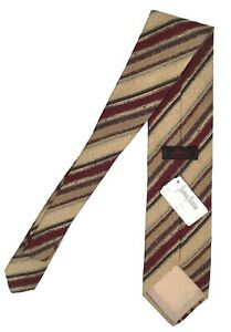 NEW Brioni Silk Tie!  *Gold, Burgundy, Navy and Green Stripe*  *Italy*